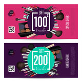 Cosmetics Gift Vouchers with Prepaid Sum Template. Cosmetics gift voucher template. Gift coupon with fashion makeup accessories and prepaid sum. Makeup brush Royalty Free Stock Photo