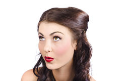 Cosmetics girl looking up. Pinup makeup concept Royalty Free Stock Photography