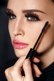 Cosmetics. Girl With Perfect Makeup, Long Eyelashes And Mascara Stock Image
