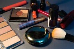 Cosmetics on grey background, closeup, woman, fashion royalty free stock image
