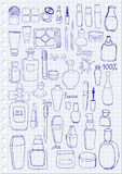 Cosmetics. Hand drawn cosmetics on paper background Royalty Free Stock Photography