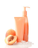 Cosmetics with ice and peach fuit Royalty Free Stock Photo