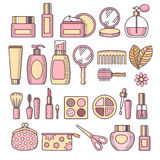 Cosmetics icon set. Colorful cosmetics and makeup icon set in line art style. Vector illustration stock illustration