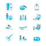 Cosmetics icons | MARINE series. Cosmetics, visage, make-up containers and tools icon-set Royalty Free Stock Photography