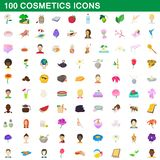 100 cosmetics icons set, cartoon style. 100 cosmetics icons set in cartoon style for any design illustration royalty free illustration