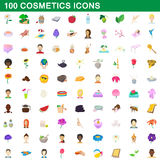 100 cosmetics icons set, cartoon style. 100 cosmetics icons set in cartoon style for any design vector illustration Stock Illustration