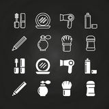 Cosmetics icons set on chalkboard - cosmetics line and silhouettes elements. Chalkboard silhouette beauty and care collection illustration Stock Photo