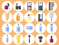 Cosmetics icons set. Makeup. Flat design. Isolated objects on white background. Vector illustration stock illustration