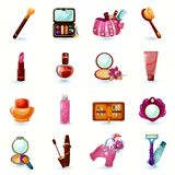 Cosmetics Icons Set. Woman beauty cosmetics and make-up cartoon icons set isolated vector illustration Royalty Free Stock Images