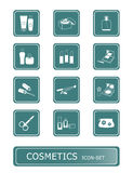 Cosmetics icons | TEAL series. Cosmetics, visage, make-up object icon-set Stock Photography