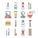 Cosmetics icons. Thin line flat vector cosmetic, beauty and makeup icons. Design elements set for website isolated on white background Royalty Free Stock Photography