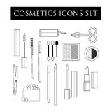 Cosmetics icons tools Royalty Free Stock Image