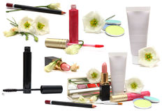 Cosmetics isolated on white - makeup set. Cosmetics isolated on white - spring makeup, set - design elements stock photography