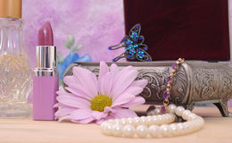Cosmetics and Jewelry Box stock images