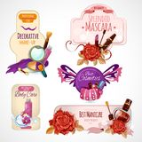 Cosmetics Label Set. With makeup skin and body care products isolated vector illustration Royalty Free Stock Photography