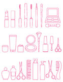 Cosmetics line icon set Stock Images