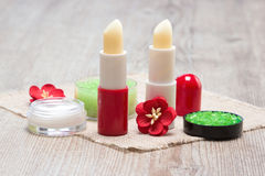 Cosmetics for lip skin care Royalty Free Stock Image