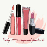 Cosmetics for lips - some lip gloss and lipstick Stock Photography