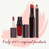 Cosmetics for lips - some lip gloss and lipstick Stock Image