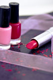 Cosmetics: lipsticks and nail polish Stock Image