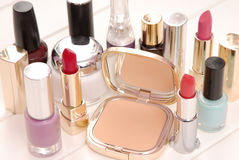 Cosmetics, lipsticks, varnish, cream Stock Photos