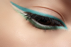 Cosmetics, Macro Eye Make-up. Fashion Mint Liner Eyeshadows Royalty Free Stock Images