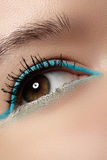 Cosmetics, macro eye make-up. Fashion mint liner eyeshadows Stock Photography