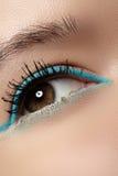 Cosmetics, macro eye make-up. Fashion mint liner eyeshadows Stock Photography