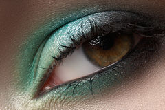 Cosmetics, macro eye make-up. Fashion mint shadows Stock Photography