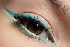 Cosmetics, macro eye make-up. Fashion mint shadows Stock Photo