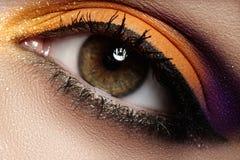 Cosmetics. Macro fashion eye make-up, clean vision royalty free stock images
