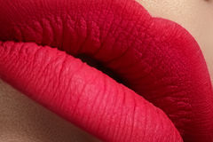Cosmetics. Macro of fashion pink lips mat make-up Stock Images