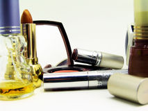Cosmetics and make-up. Isolated makeup items on white background Stock Photo