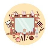 Set of cosmetics and a mirror on a yellow background stock illustration