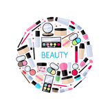 Cosmetics make-up beauty accessories illustration Stock Images