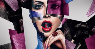 Composition of women portraits with bead in mouth and ring. Cosmetics, make up, idea. Composition of women portraits with body art, bead in mouth and ring stock illustration