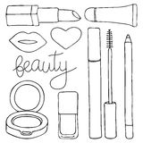 Cosmetics or make up set. Hand-drawn cartoon collection of cosmetic products - lip gloss, lipstick, mascara, pencil Stock Images