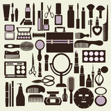 Cosmetics and makeup black and white icon set - Illustration Stock Photography