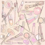 Cosmetics and makeup brushes Royalty Free Stock Images