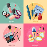 Cosmetics Makeup Concept 4 Icons Square Stock Photos