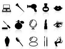 Cosmetics and makeup icons set. Black cosmetics and makeup icons set from white background Royalty Free Stock Photography