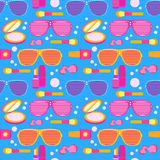 Cosmetics and makeup seamless pattern. Glamour vector illustration with glass, powder, nail polish etc vector illustration