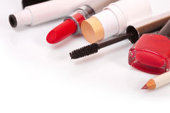 Cosmetics makeup on a white background Stock Photography