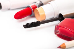 Cosmetics makeup on a white background Stock Photos
