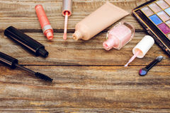 Cosmetics: mascara, concealer, nail polish, perfume, lip gloss and eye shadow Stock Photo