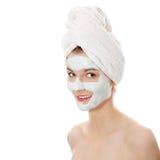 Cosmetics mask of clay Stock Photos