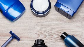 Cosmetics for men frame Stock Images