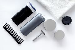 Cosmetics for men`s hair on white background top view Royalty Free Stock Photography
