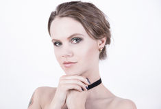 Cosmetics model photo with clear face Royalty Free Stock Photography