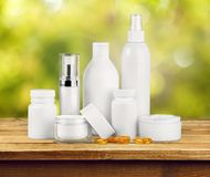 Cosmetics. Moisturizer Beauty Bottle Packaging Beauty Treatment Jar Royalty Free Stock Image